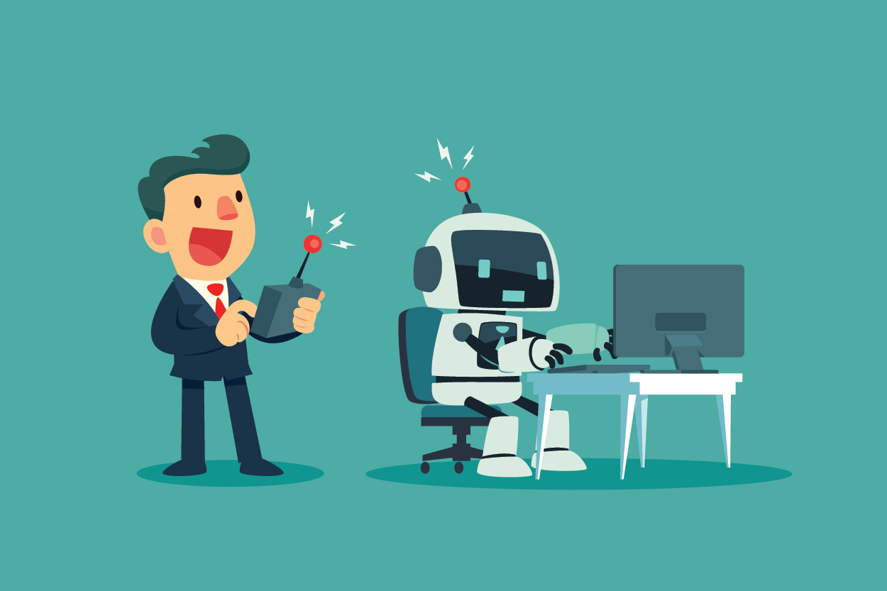 Robot helping sales person write emails and complete tasks