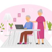 marketing senior living communities couple on computer